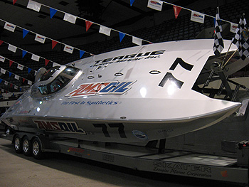 One of the many displays for us dealers at the yearly Amsoil convention. Teague's off shore racing boat uses AMSOIL RD series racing oil.
